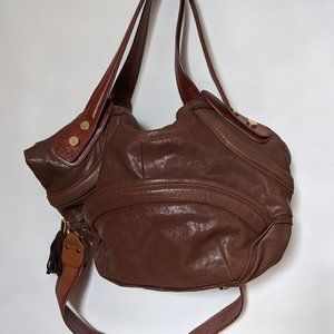 After the Apple two tone brown leather slouch bag